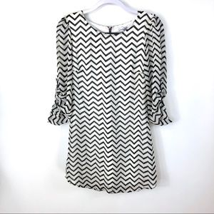 Speechless white & black chevron mini dress